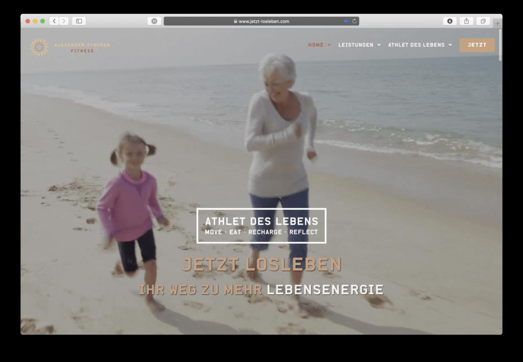 Webdesign der Startseite für Alexander Fischer Fitness