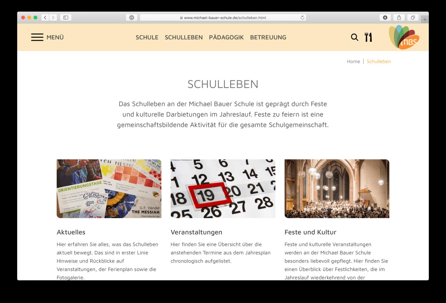 Webdesign einer Unterseite der Michael Bauer Schule in Stuttgart
