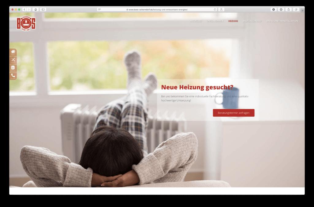 Webentwicklung der Landingpage