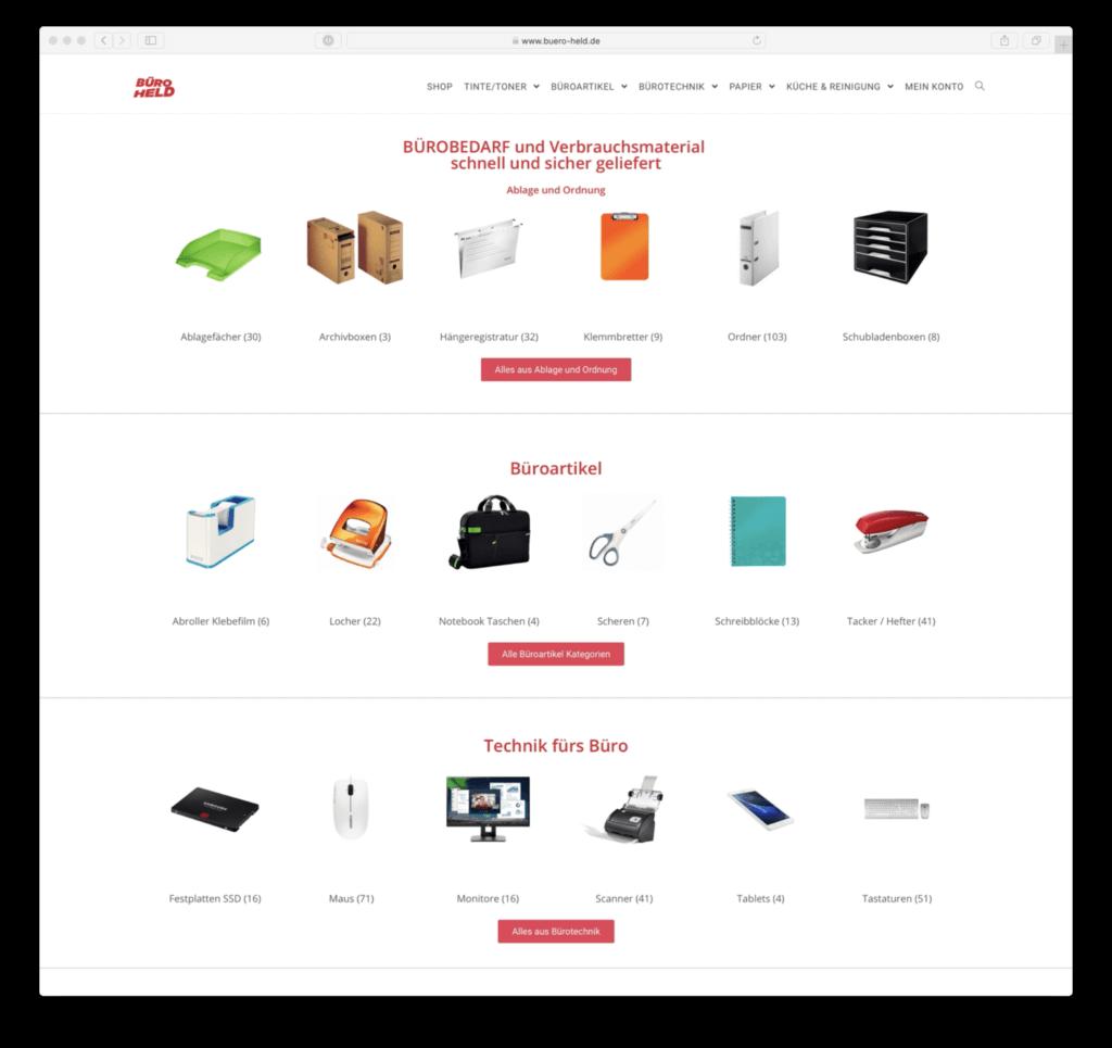 Webshop BÜRO HELD Homepage