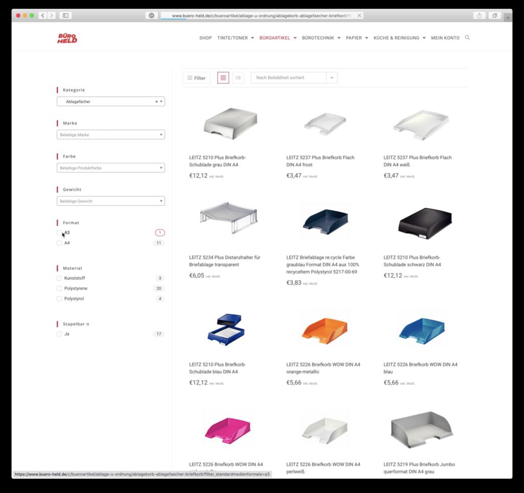 Webentwicklung / Webshop BÜRO HELD Filter