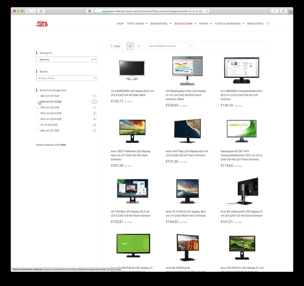 Webshop Kategorie Monitore und Filter