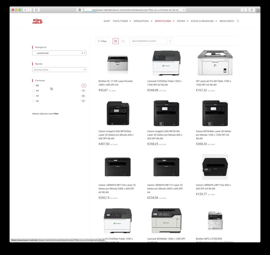 Webshop Design-Ansicht Filter für Drucker