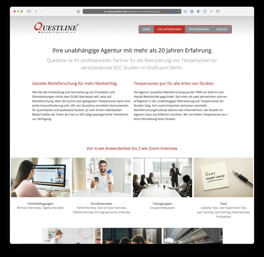 Webdesign der Startseite in der Desktopansicht