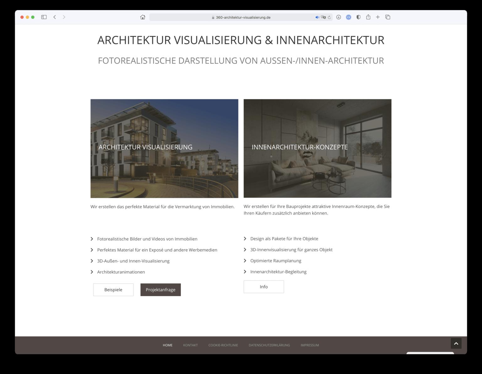 Webdesign einer Unterseite im Bereich Architekturvisualisierung