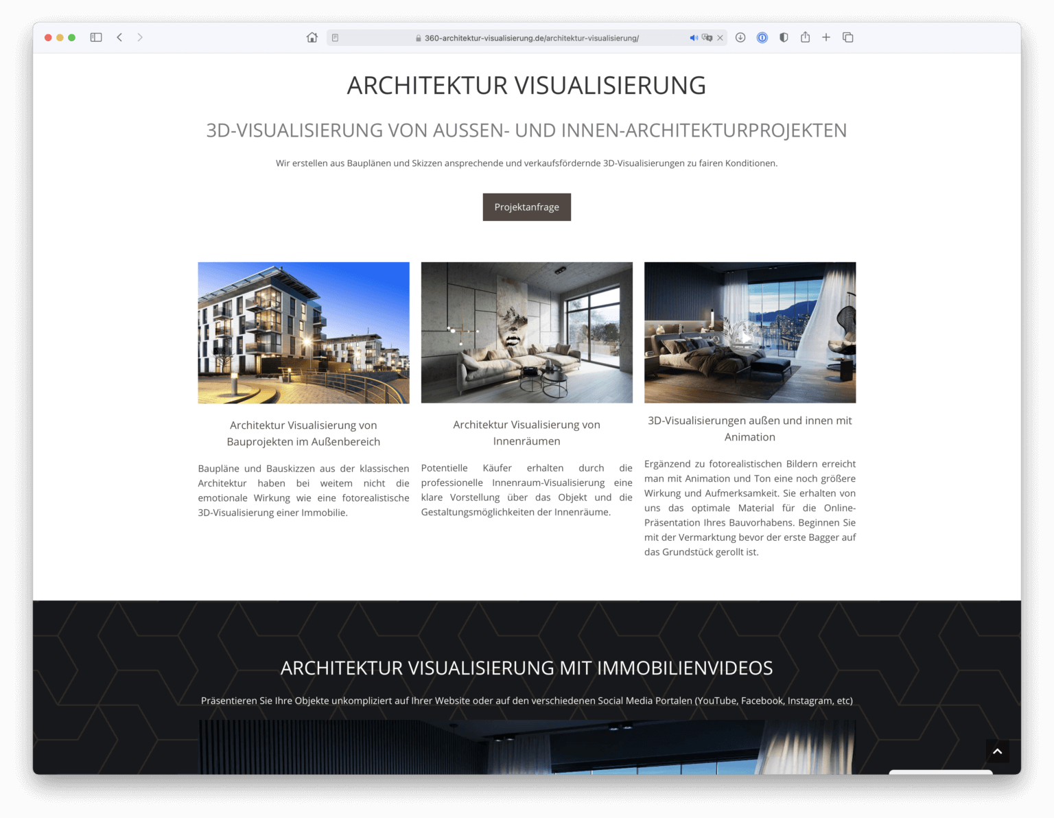 Professionelles Webdesign der Unterseite
